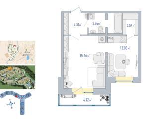Продажа квартир: 1-комнатная квартира в новостройке, Ленинградская область, Всеволожский р-н, п. Мурино, ул. Лаврики (шоссе), 4, фото 1